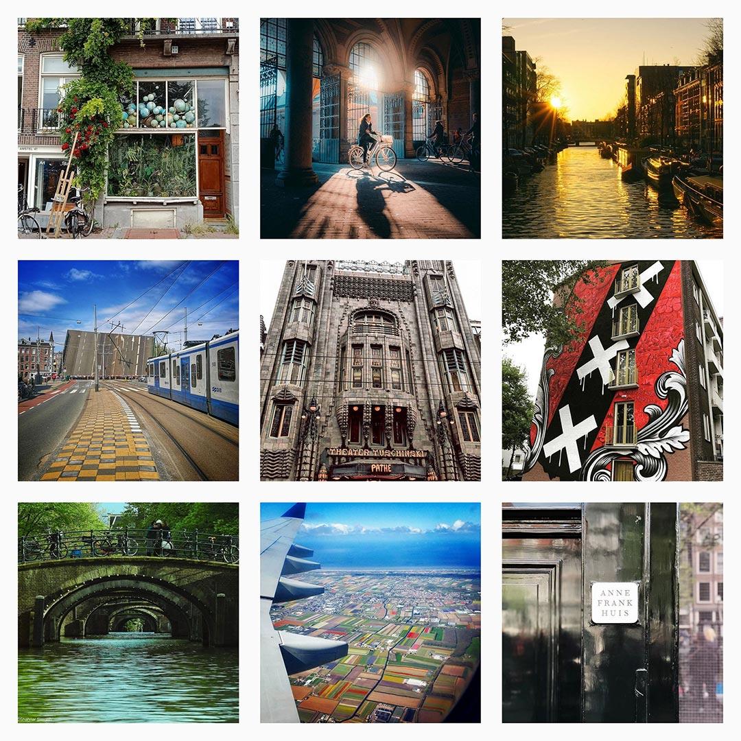 Grid of I amsterdam images on Instagram