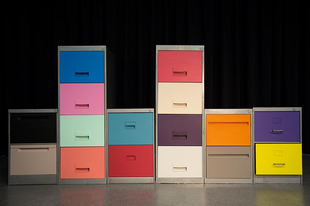Old filing cabinets painted in bold colours